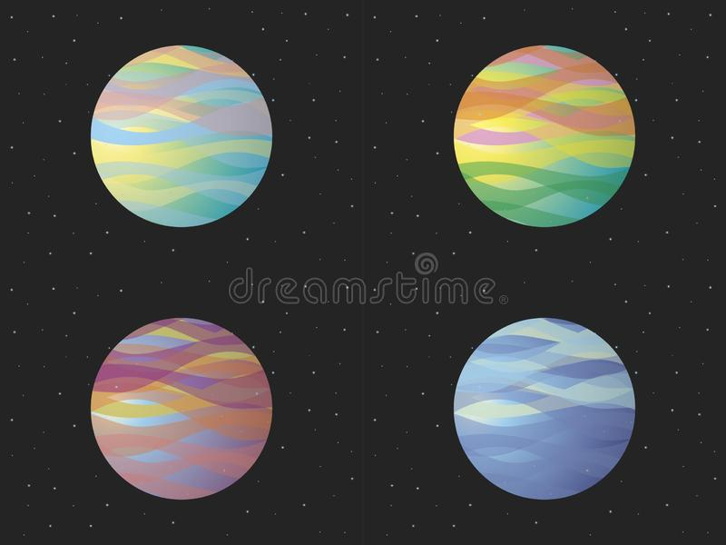 A set of colored planets. stock illustration