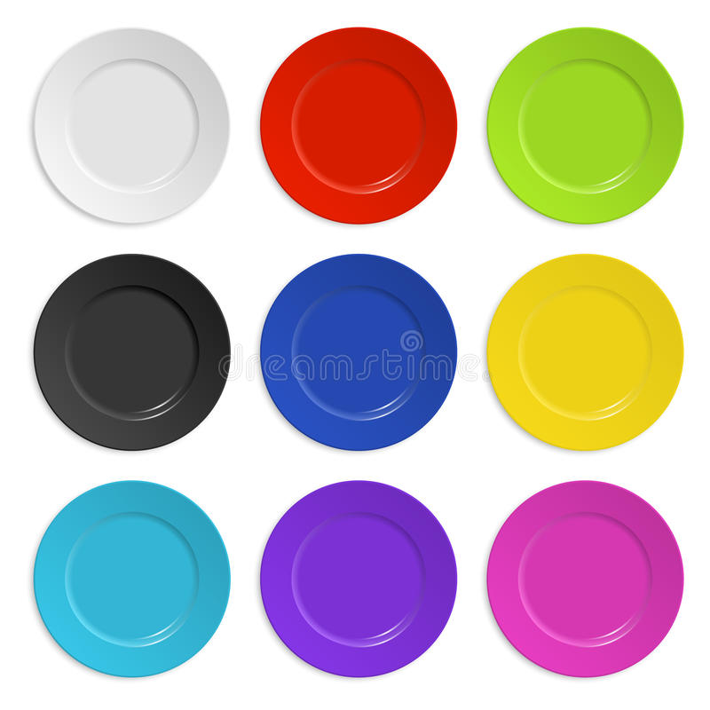Set of colored plates isolated on white vector illustration