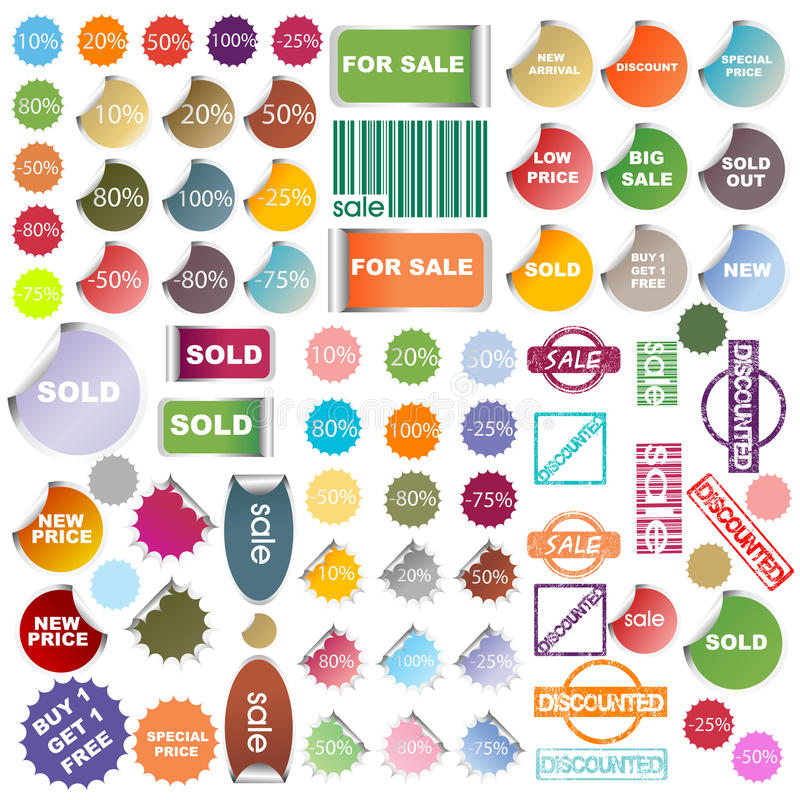 Set Of Colored Promotional Elements Royalty Free Stock Photos