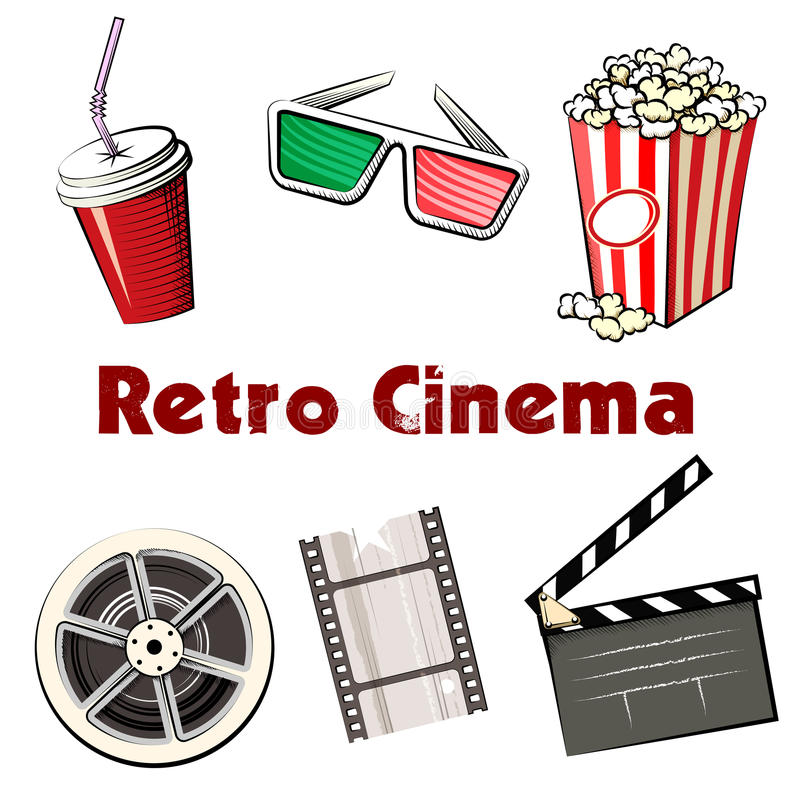 Set of colored Retro Cinema icons stock illustration