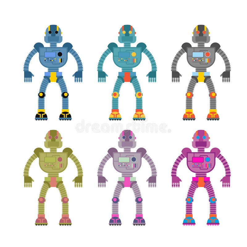 Set colored robots. Retro mechanical toys. Vintage space cyborgs stock illustration