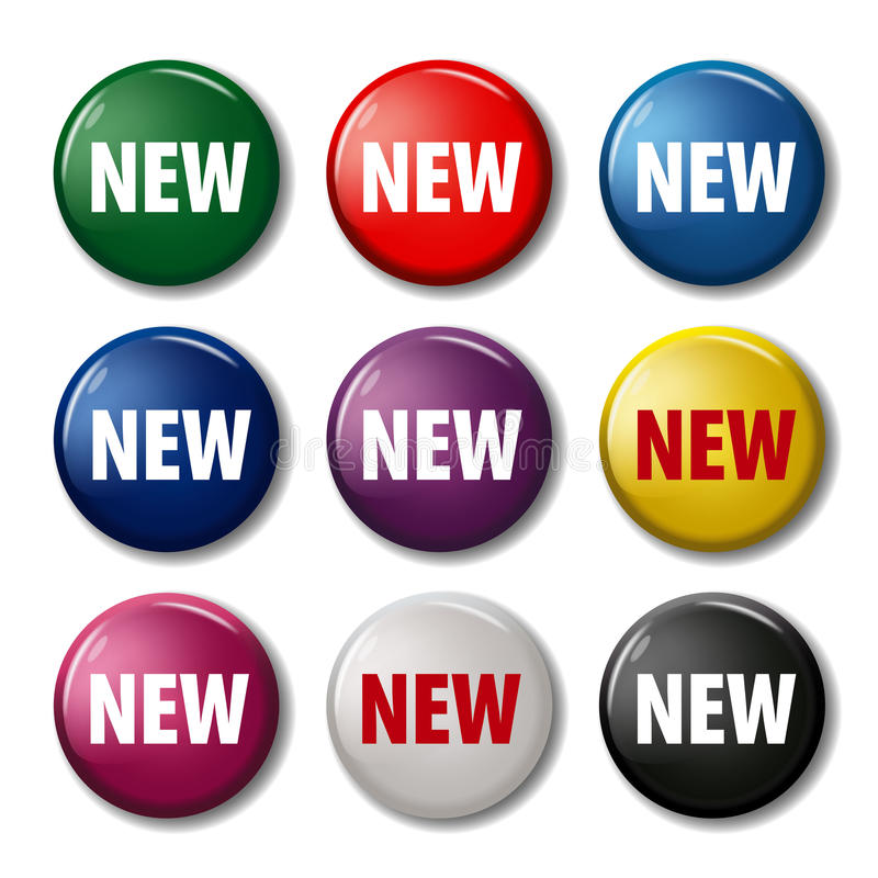 Set of colored round buttons with word `New` royalty free illustration