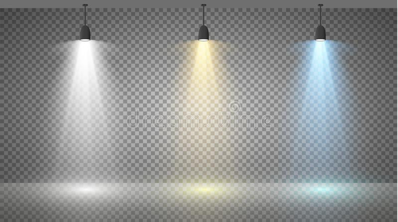 Set of colored searchlights on a transparent background. Bright lighting with spotlights. The searchlight is white, blue stock illustration
