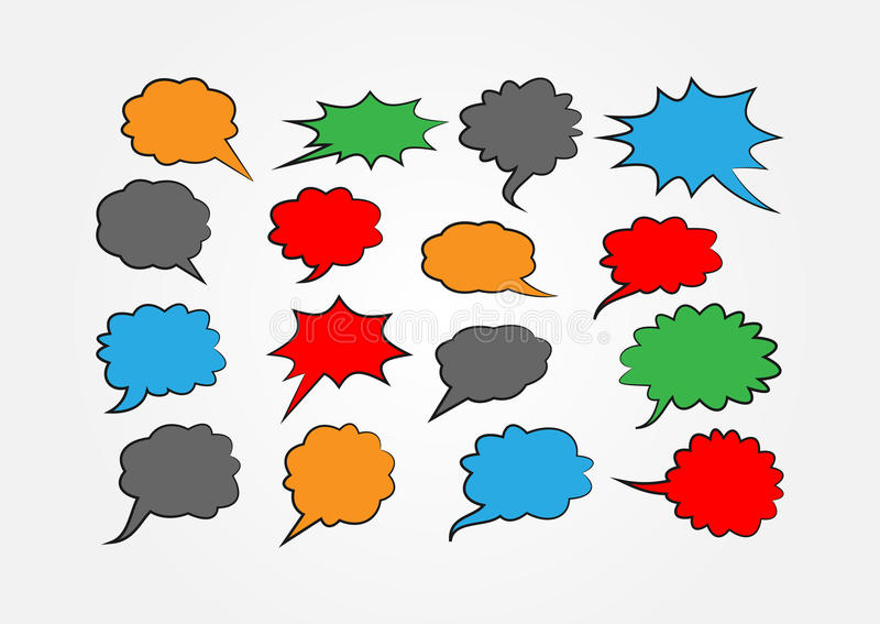 Set of colored speech bubbles. Red, green, blue, orange, dark grey stickers with black outline. royalty free illustration