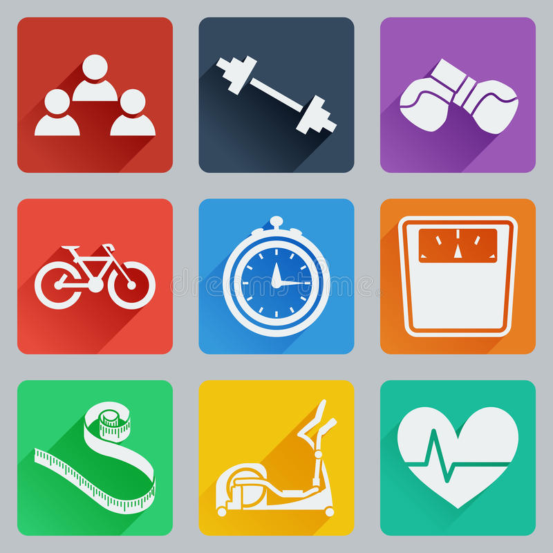 Set of colored square icons on fitness. Fashionable flat design with long shadows. vector illustration