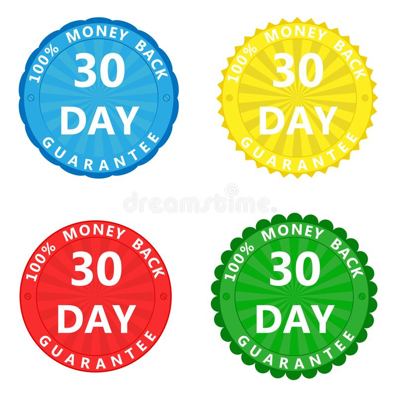 A set of multi-colored stickers with the inscription 100 percent stock illustration