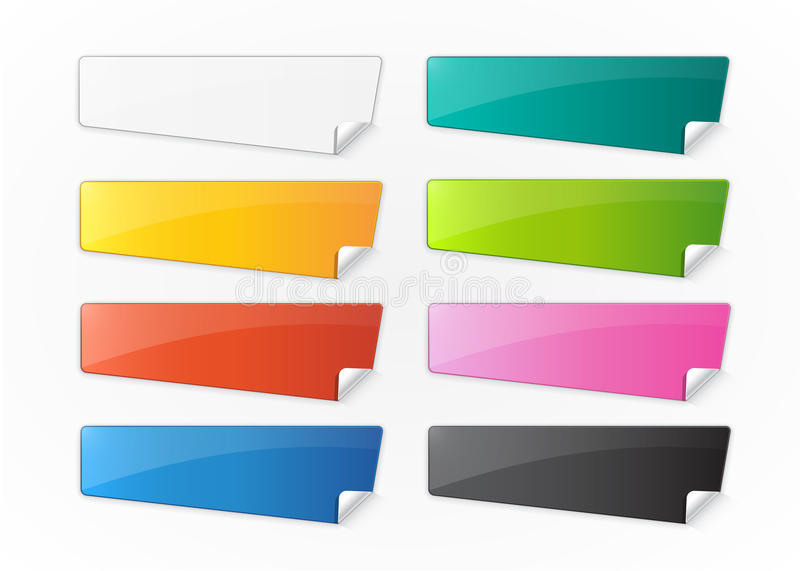 Set of colored stickers with place for text. Vector illustration royalty free illustration