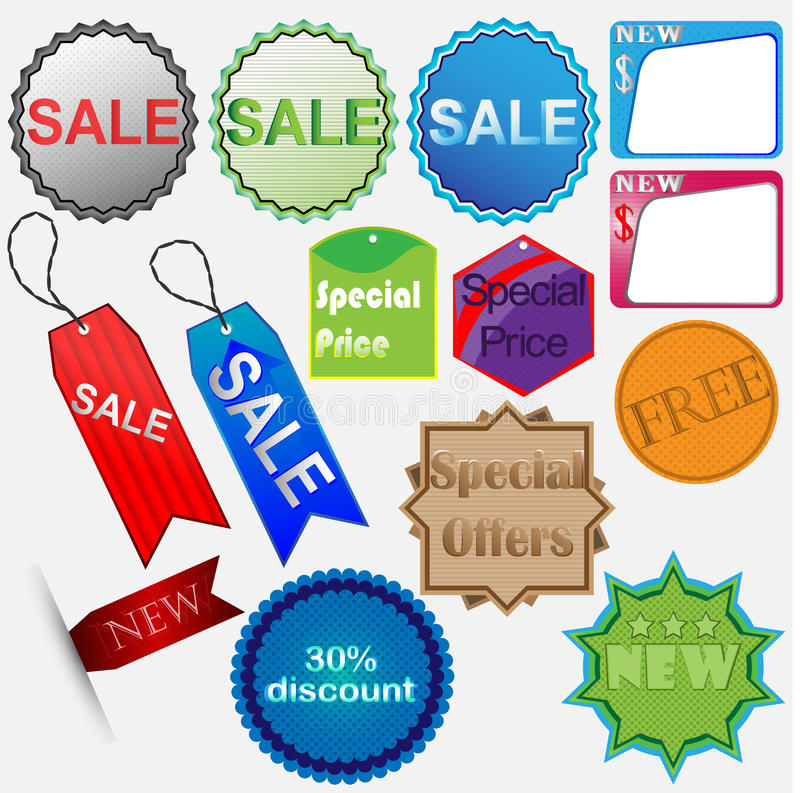 Download Set Of Colored Stickers Sale Stock Illustration - Illustration of discount, design: 26426514