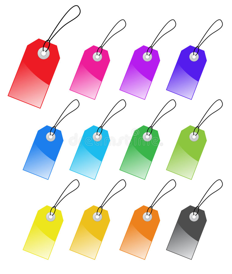 Download Set of colored tags. stock vector. Illustration of luggage - 8897607