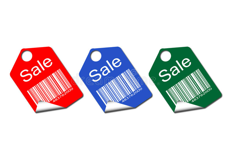 Set of colored tags for sale stock illustration