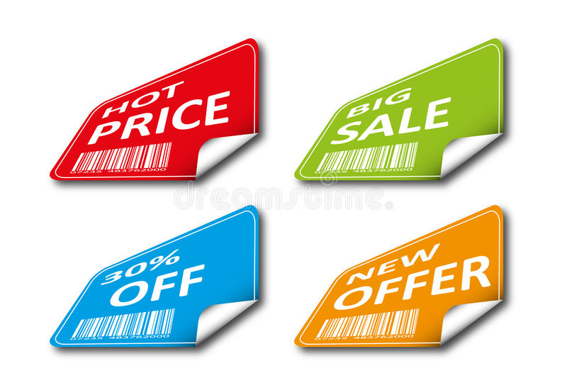 Set of colored tags for sale royalty free illustration