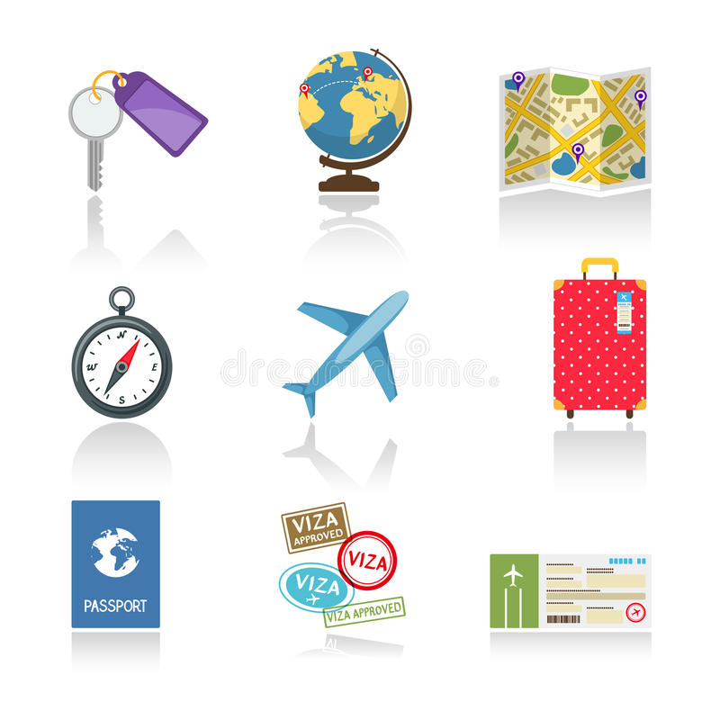 Set of colored travel icons. Depicting a car key globe map compass airplane suitcase passport visas and a ticket vector illustration on white with reflection royalty free illustration