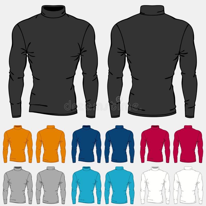 Set of colored turtleneck shirts templates for men royalty free illustration