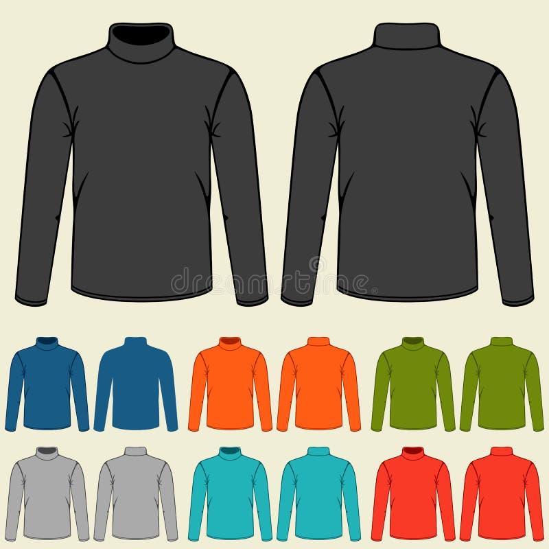 Set of colored turtlenecks templates for men vector illustration