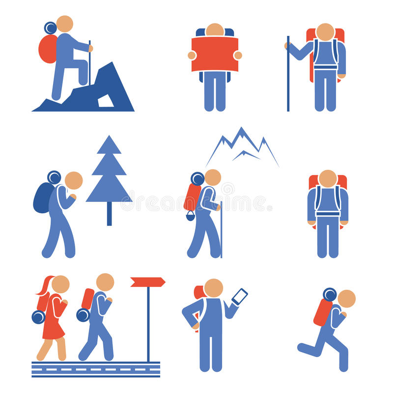 Set of colored vector hiking icons royalty free illustration