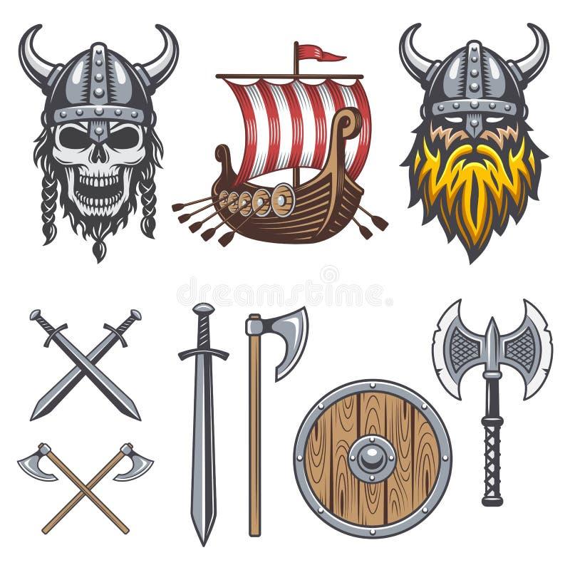 Set of colored viking elements vector illustration