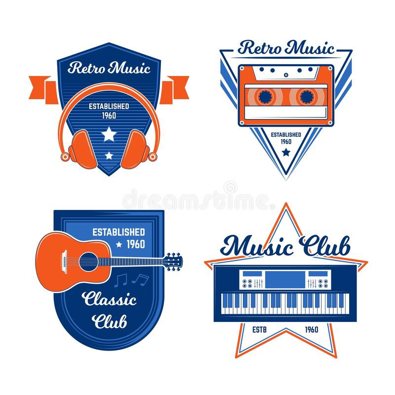 VINTAGE MUSIC EMBLEM COLLECTIONS III. SET OF COLORED VINTAGE MUSIC EMBLEM stock illustration