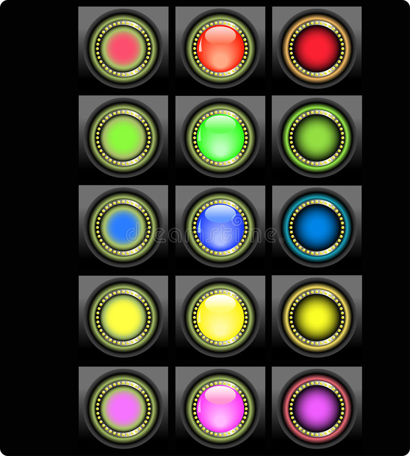 Set Of Colored Web Buttons Stock Photography