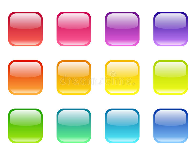 Download Set of colored web icons. stock vector. Illustration of button - 32995581