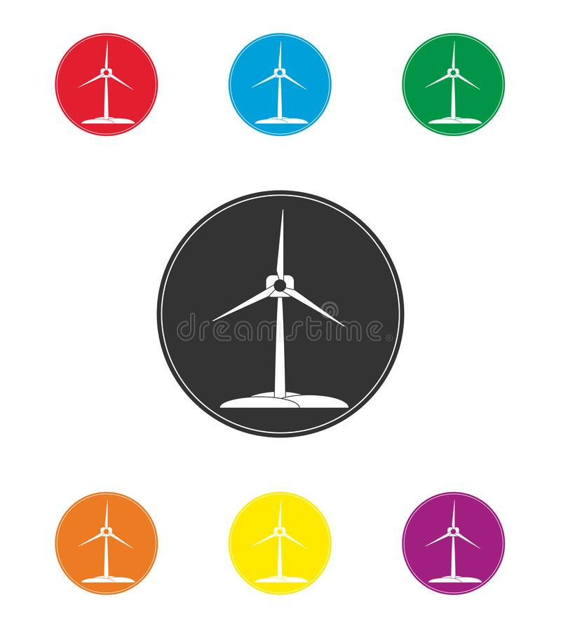 Set of colored wind turbine icons. Renewable energy, flat design royalty free illustration