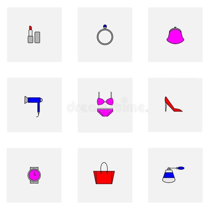 Set of colored woman things icons ring, bag, purse, perfume, underwear, briefs, bra, lipstick, shoes, hair dryer on grey vector illustration