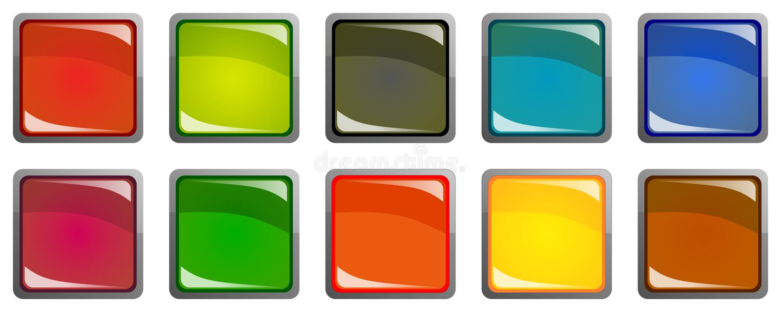 Set of colorful 3d buttons stock illustration