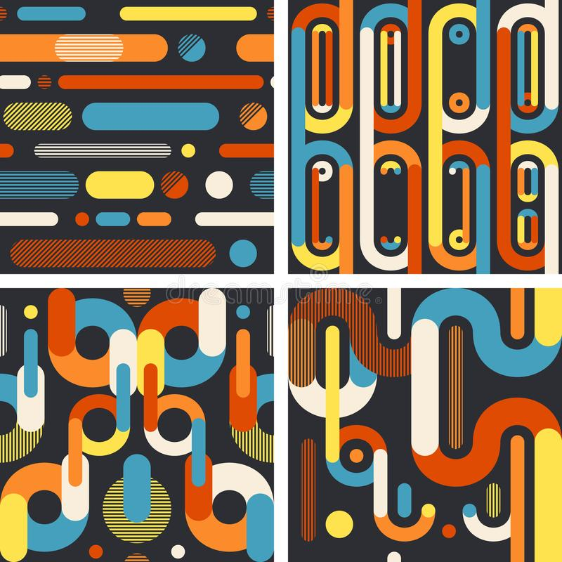 Abstract geometric seamless patterns on dark background. Set 2 royalty free illustration