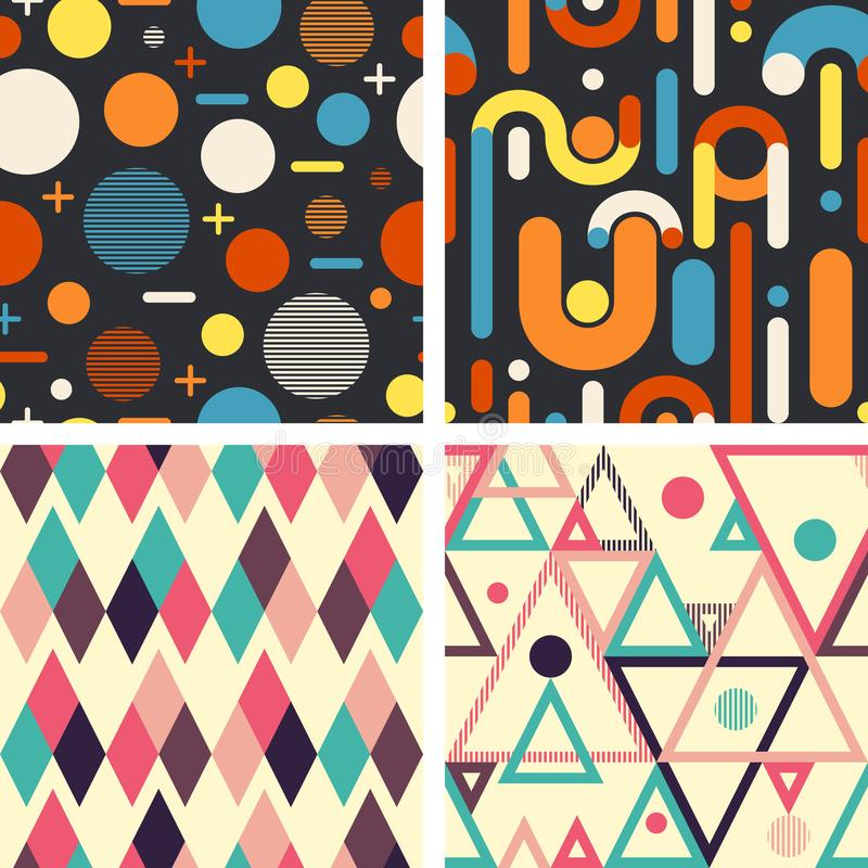 Abstract geometric seamless patterns set on dark and light background. vector illustration