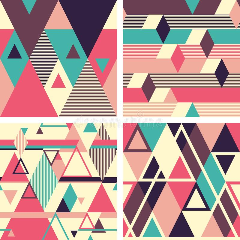 Abstract geometric seamless patterns on light background. Set 2 stock illustration