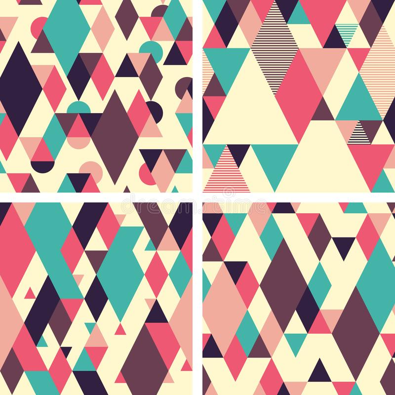 Abstract geometric seamless patterns on light background. Set 1 royalty free illustration