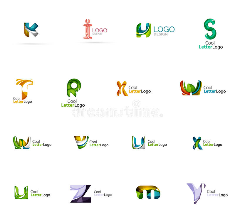 Set of colorful abstract letter corporate logos vector illustration