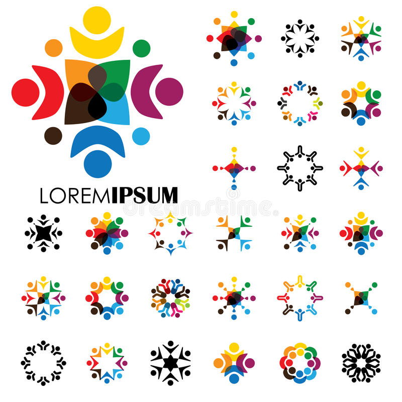 Set of colorful, abstract people together graphics - vector logo vector illustration