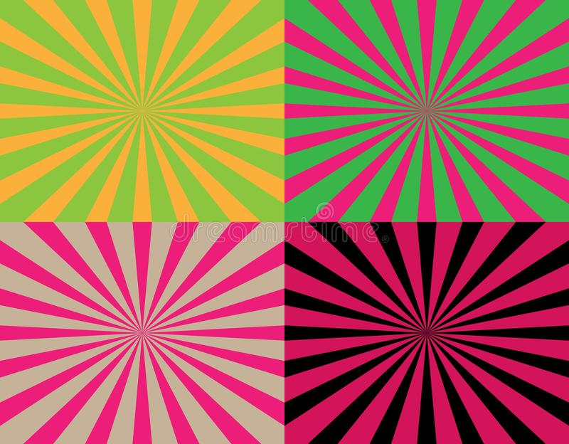 Set of 4 colorful abstract striped rays from center backgrounds. Starburst textures. vector illustration