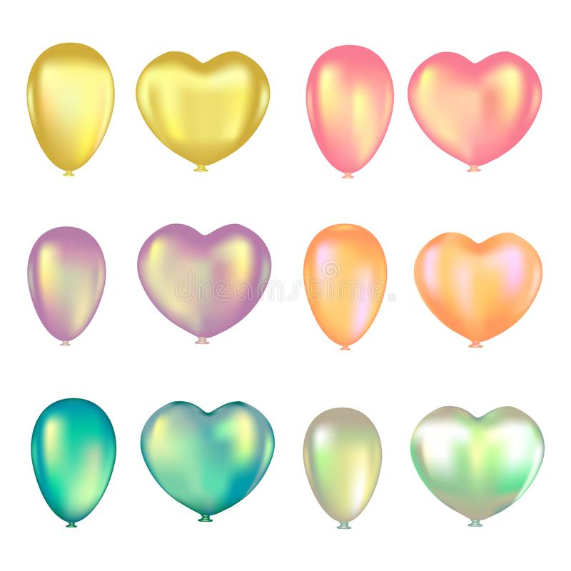 Set of colorful air balloons on a white background. Vector illustration stock illustration
