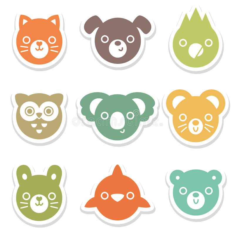 Set of colorful animal and bird face stickers stock illustration