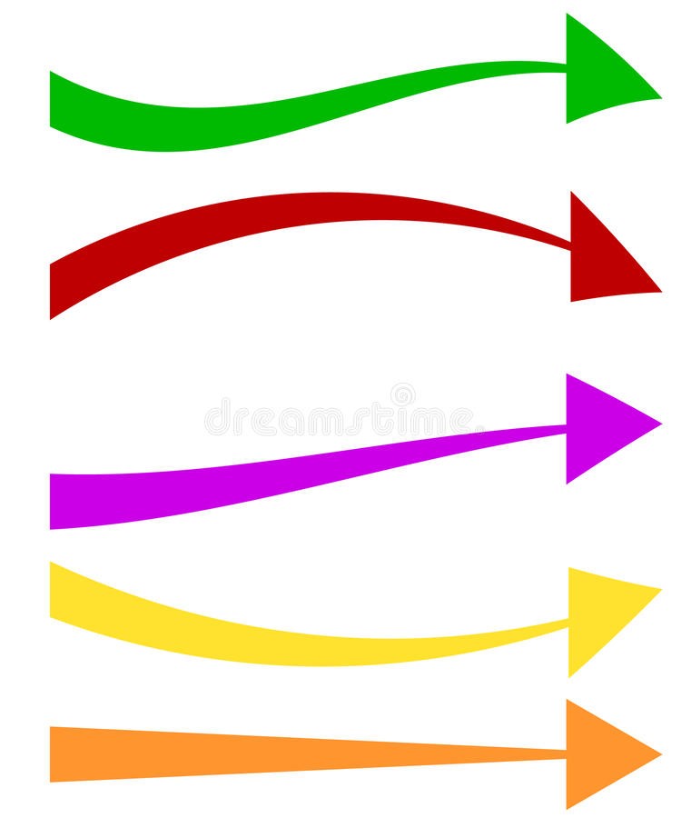 Set of 5 colorful arrow shapes. Long, horizontal arrows stock illustration