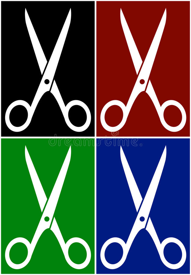 Set colorful backgrounds with scissors royalty free illustration