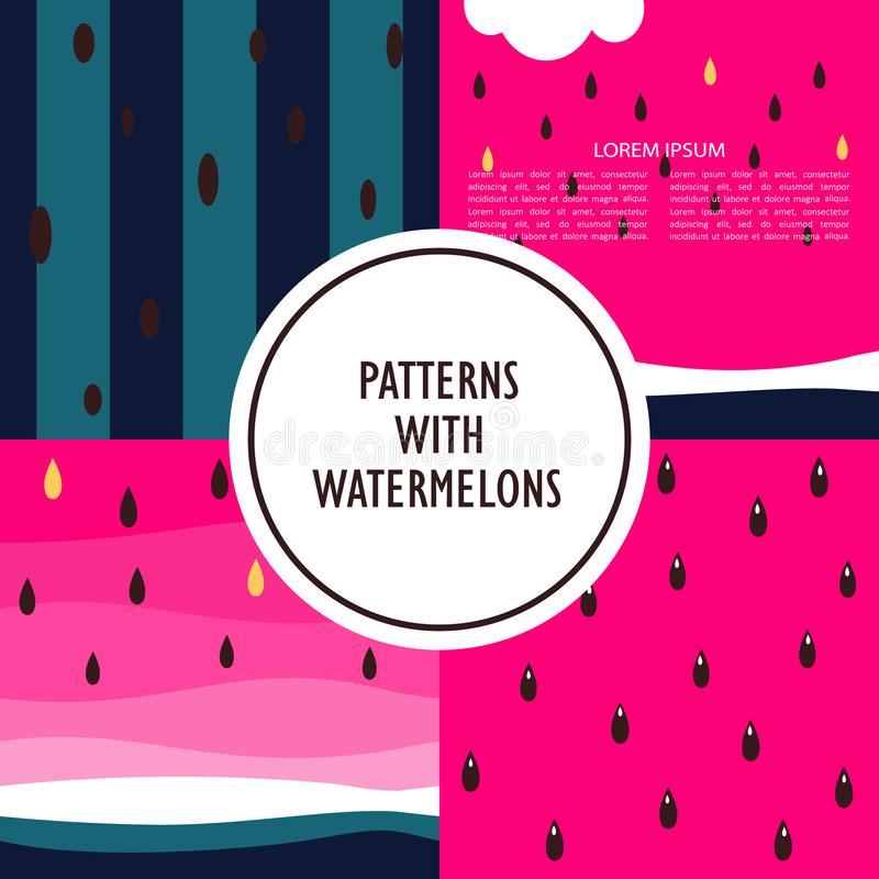 Set of colorful backgrounds with watermelons stock illustration