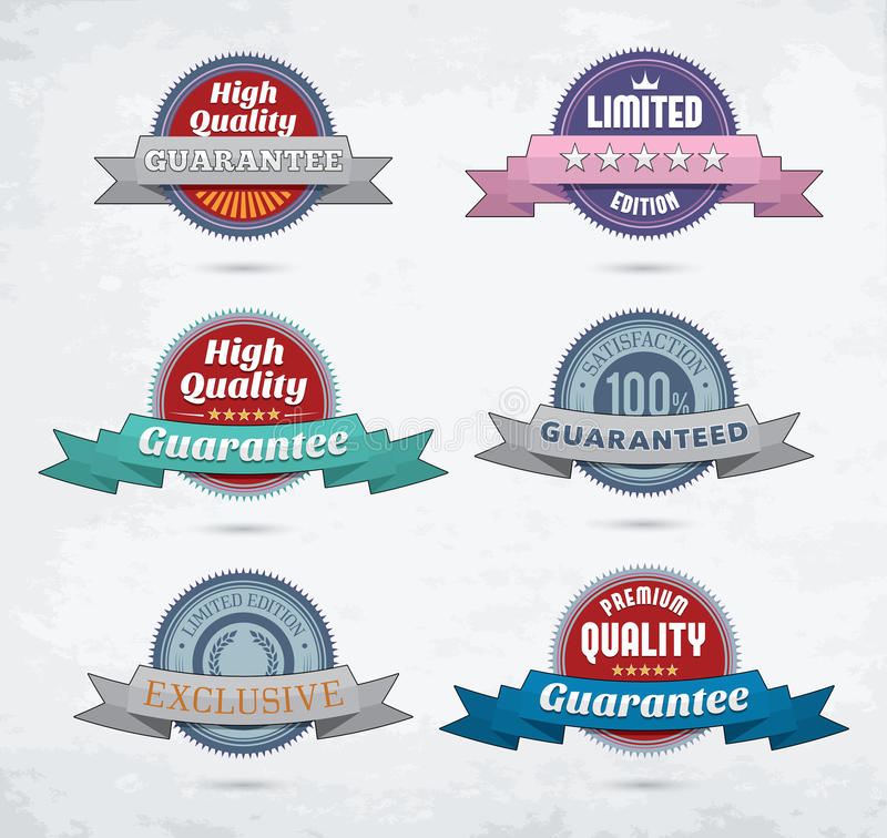 Set of colorful badges with ribbons royalty free illustration