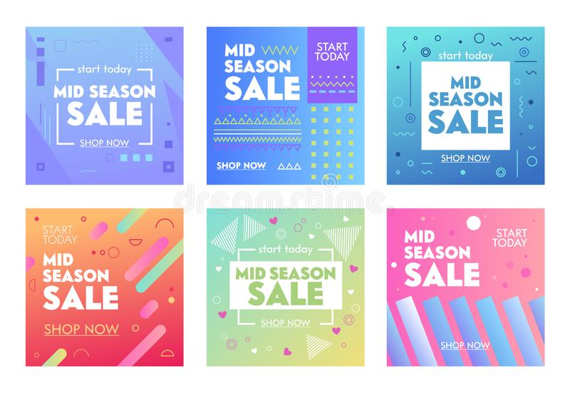 Set of Colorful Banners with Abstract Geometric Pattern for Mid Season Sale. Promo Post Design Template for Social Media Marketing vector illustration