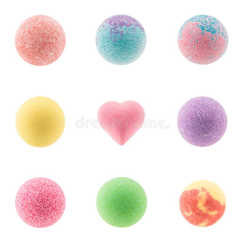 Set of colorful bath bombs royalty free stock photography