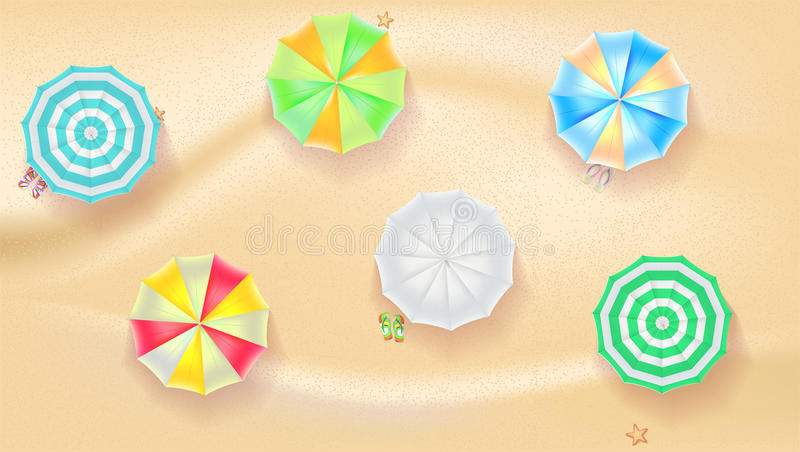 Set of colorful beach umbrellas on the background a sand. Set of colorful beach sun umbrellas flip-flops and beach Mat on the background of sand with beach flip stock illustration