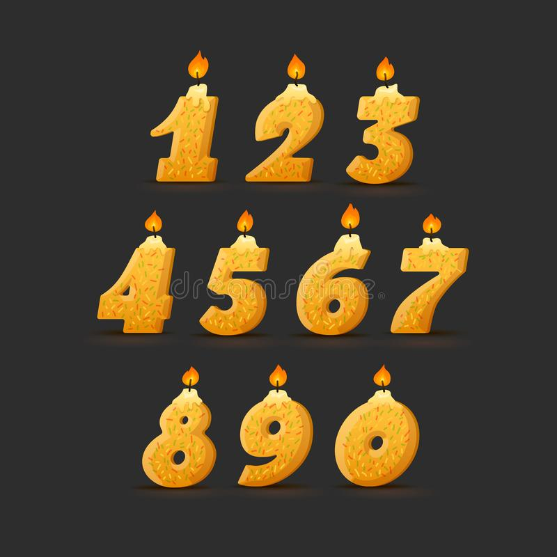 Set of colorful birthday candle numbers. with confetti. Wick and fire. Vector Illustration Black Background stock illustration