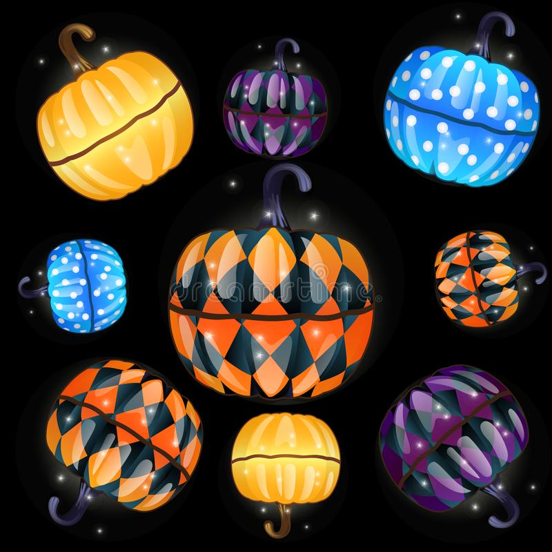 Set of colorful boxes with a fun texture made in the shape of pumpkins isolated on a black background. The attributes of. The celebration of the Halloween royalty free illustration