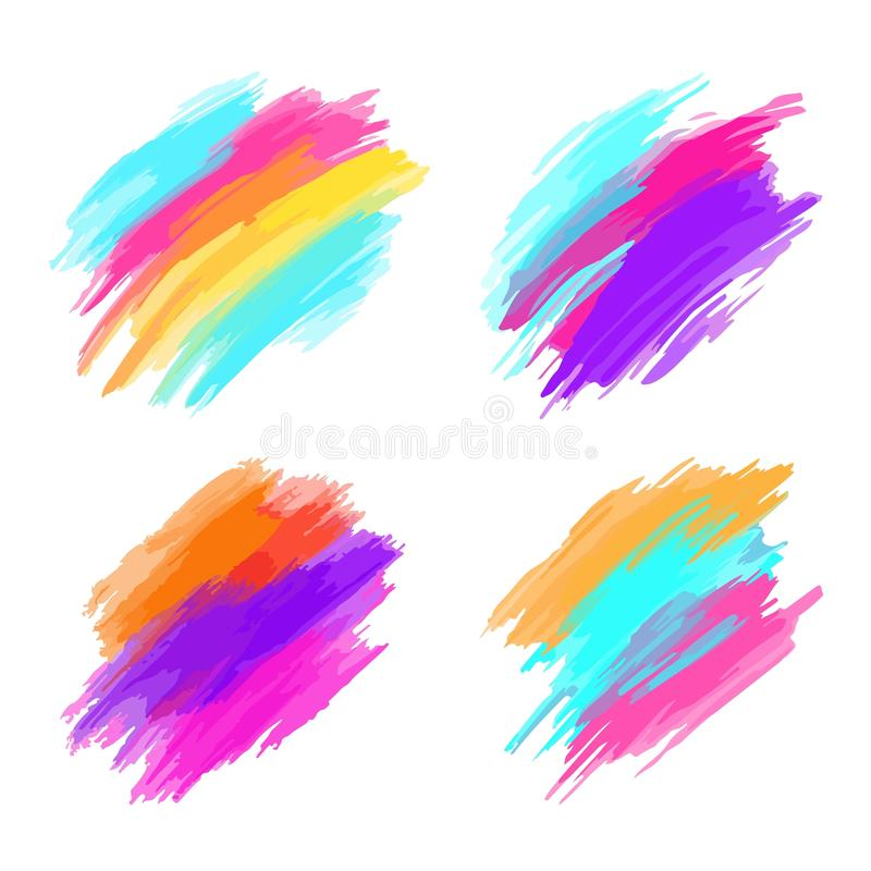 Set of colorful brush strokes. Modern design element. Vector illustration royalty free stock photography