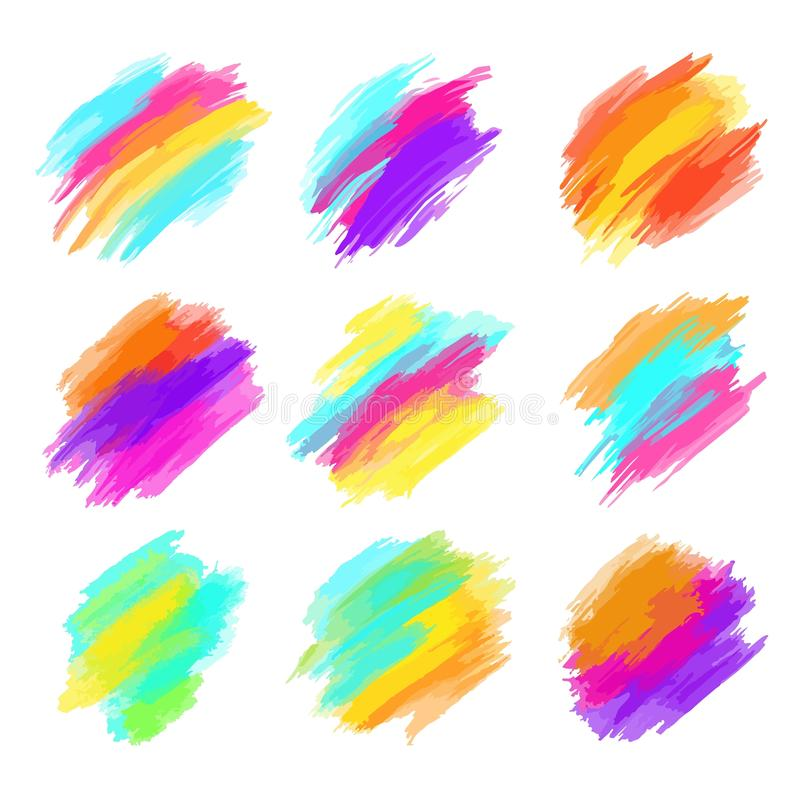 Set of colorful brush strokes. Modern design element. Vector illustration royalty free stock images