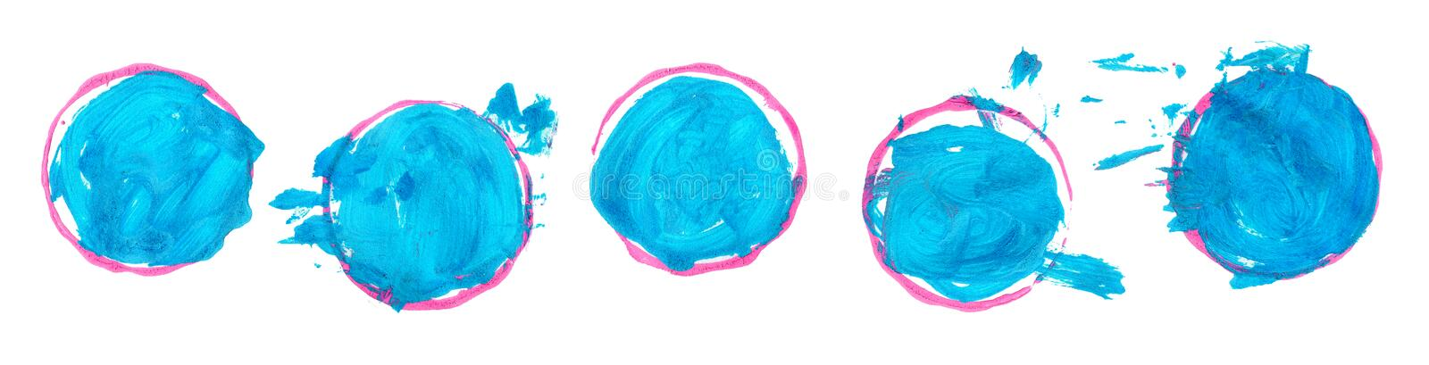 Set of blue brushstroke stains isolated on white background. Gouache stains, drops. Baby child painting circles and. Set of colorful brushstroke stains isolated stock illustration