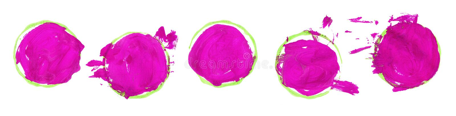 Set of pink brushstroke stains isolated on white background. Gouache stains, drops. Baby child painting circles and. Set of colorful brushstroke stains isolated royalty free illustration