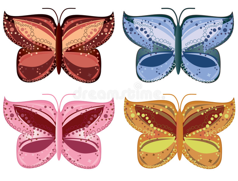 Set of colorful butterflies royalty free illustration