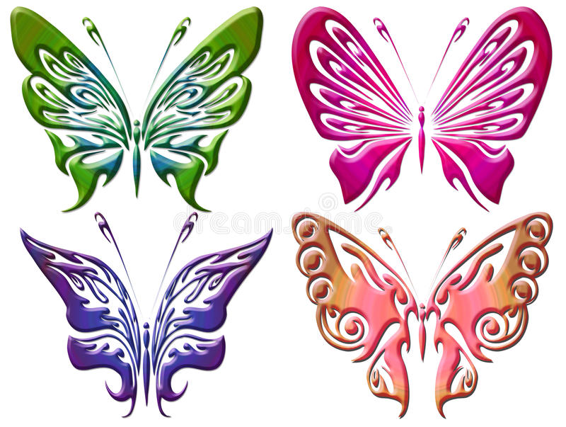 Set of colorful butterflies background stock images